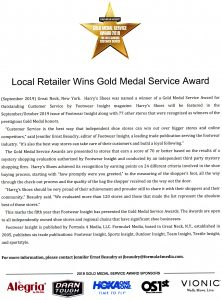 Harry's has received the Gold Medal Service award for outstanding customer service by Footwear Insight magazine!